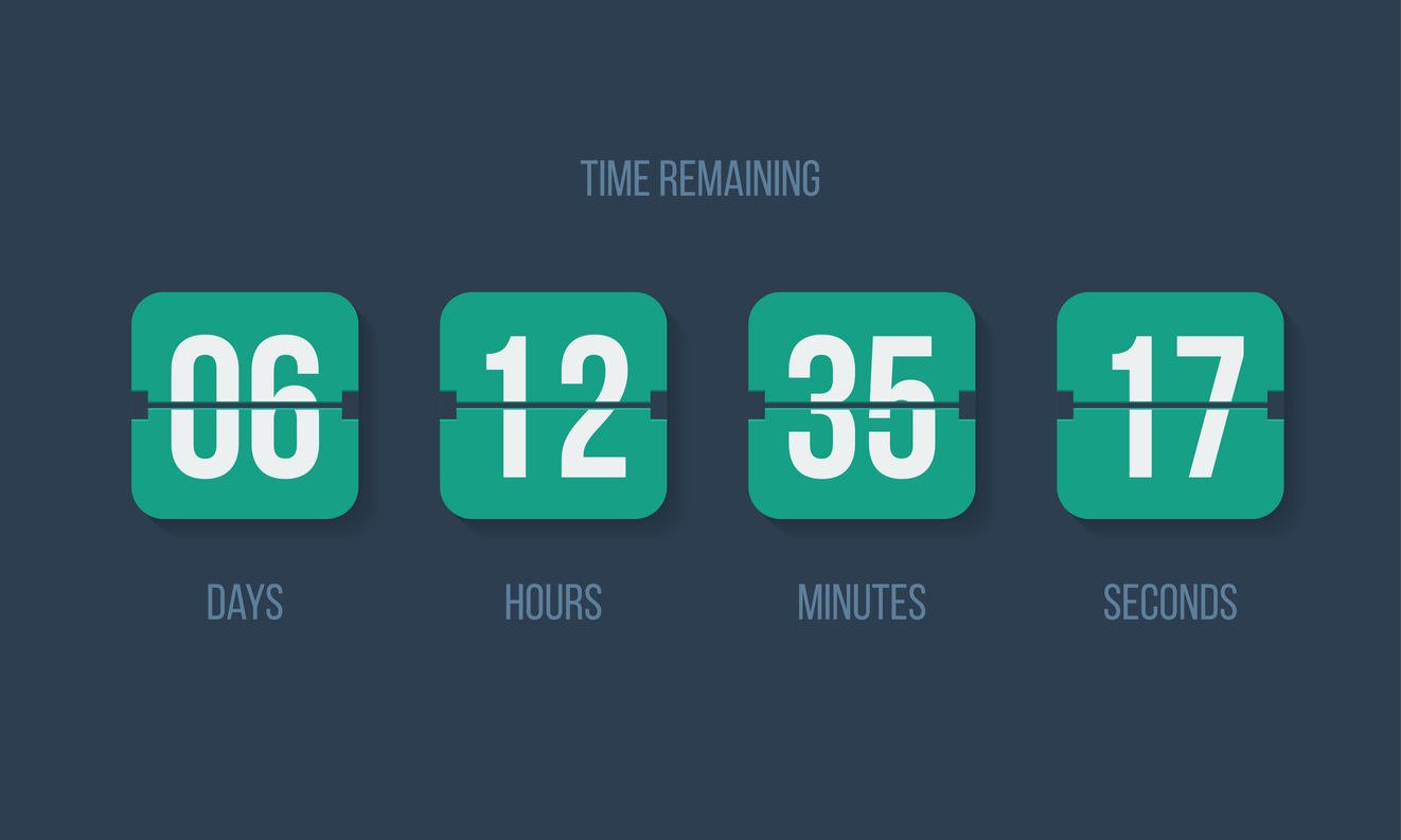 Flip countdown clock counter timer. Vector time remaining count down flip board with scoreboard of day, hour, minutes and seconds for web page upcoming event template design, under construction page.