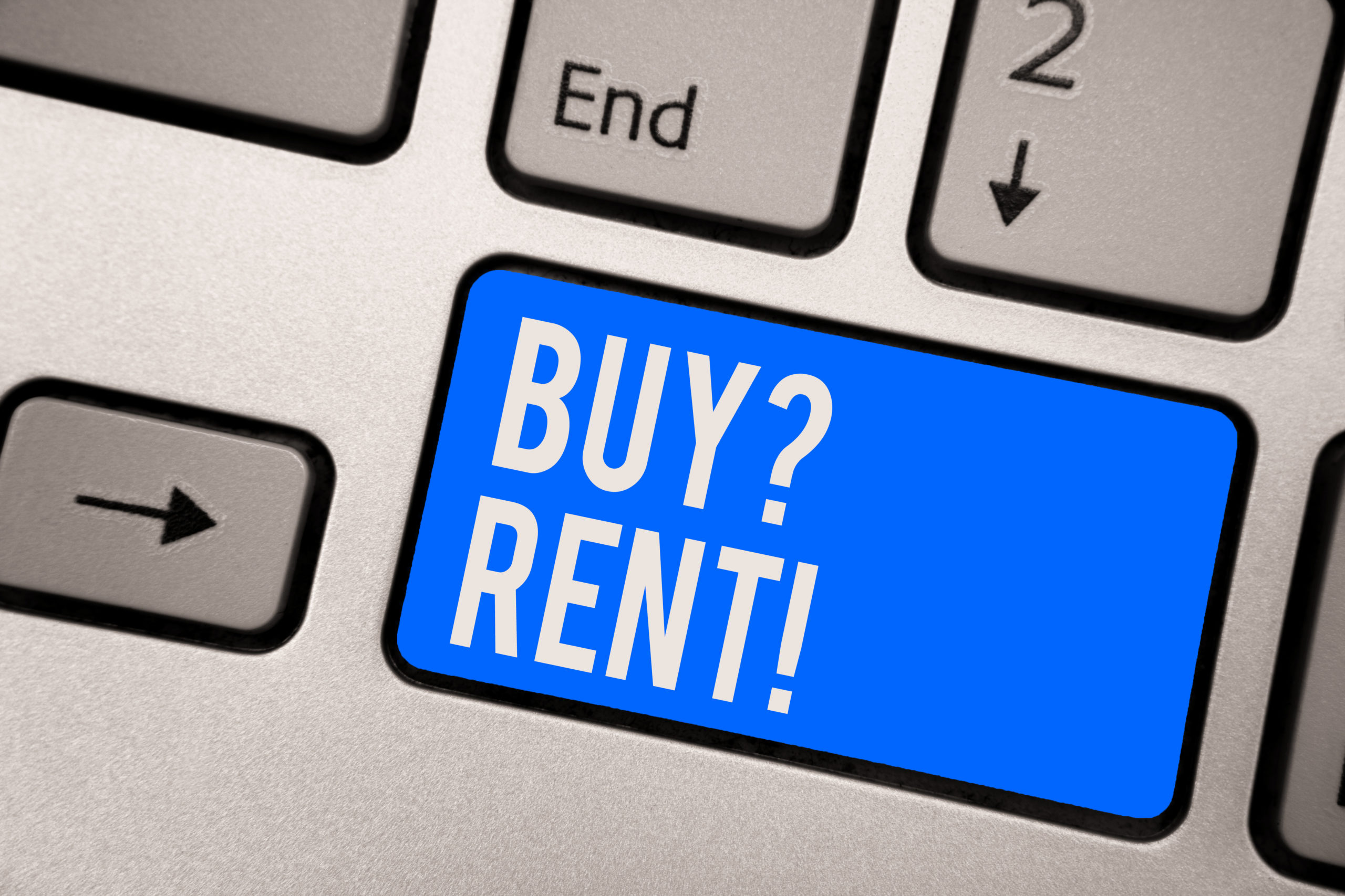 Text sign showing Buy question Rent. Conceptual photo Group that gives information about renting houses Keyboard blue key Intention create computer computing reflection document.