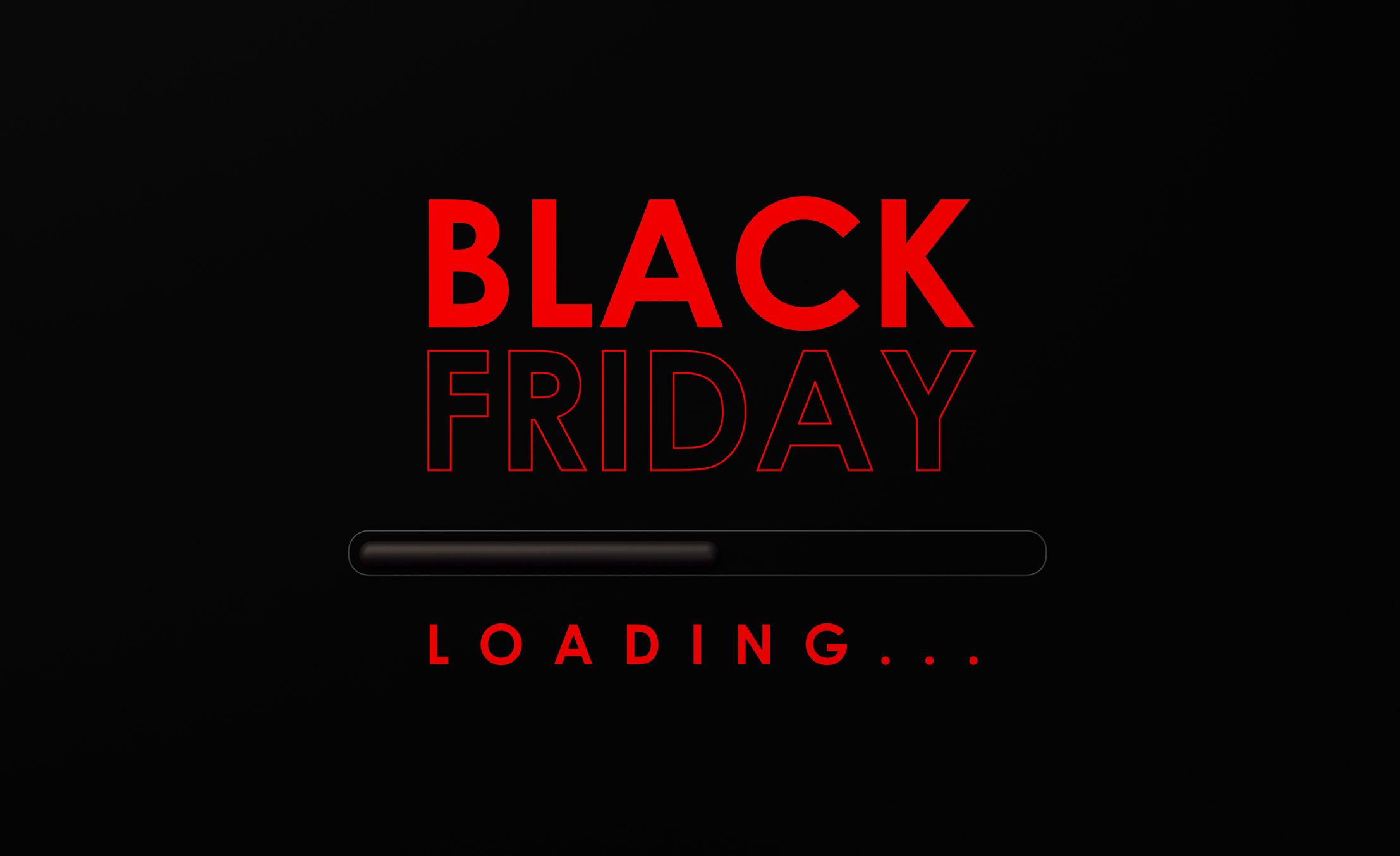 Loading bar with red Black Friday text on black background. Horizontal composition with copy space.