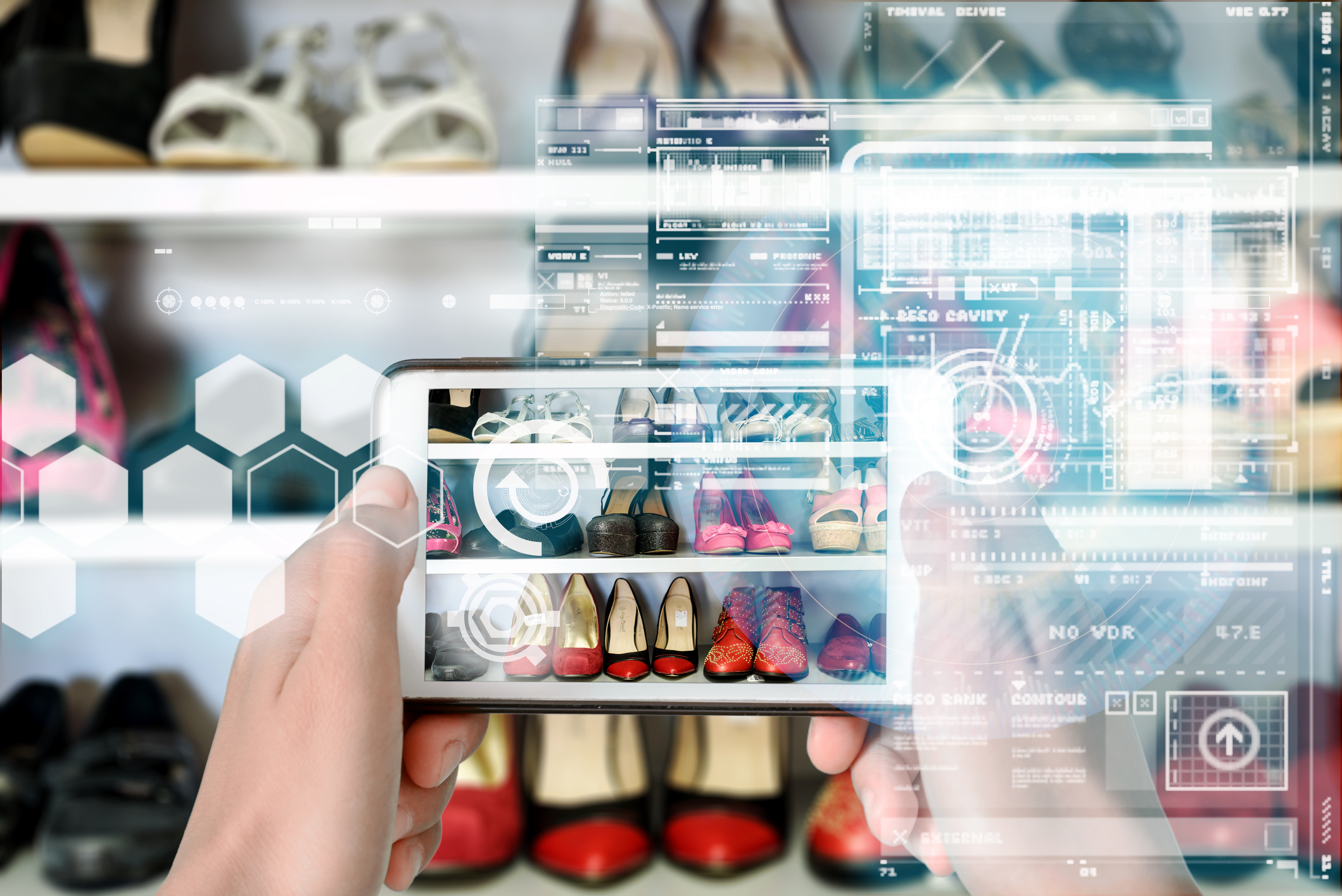 Augmented Reality device using smart technology, mixing virtual and augmentation reality through the application of artificial intelligence and computer AI tech assistance for a personalised shopping experience