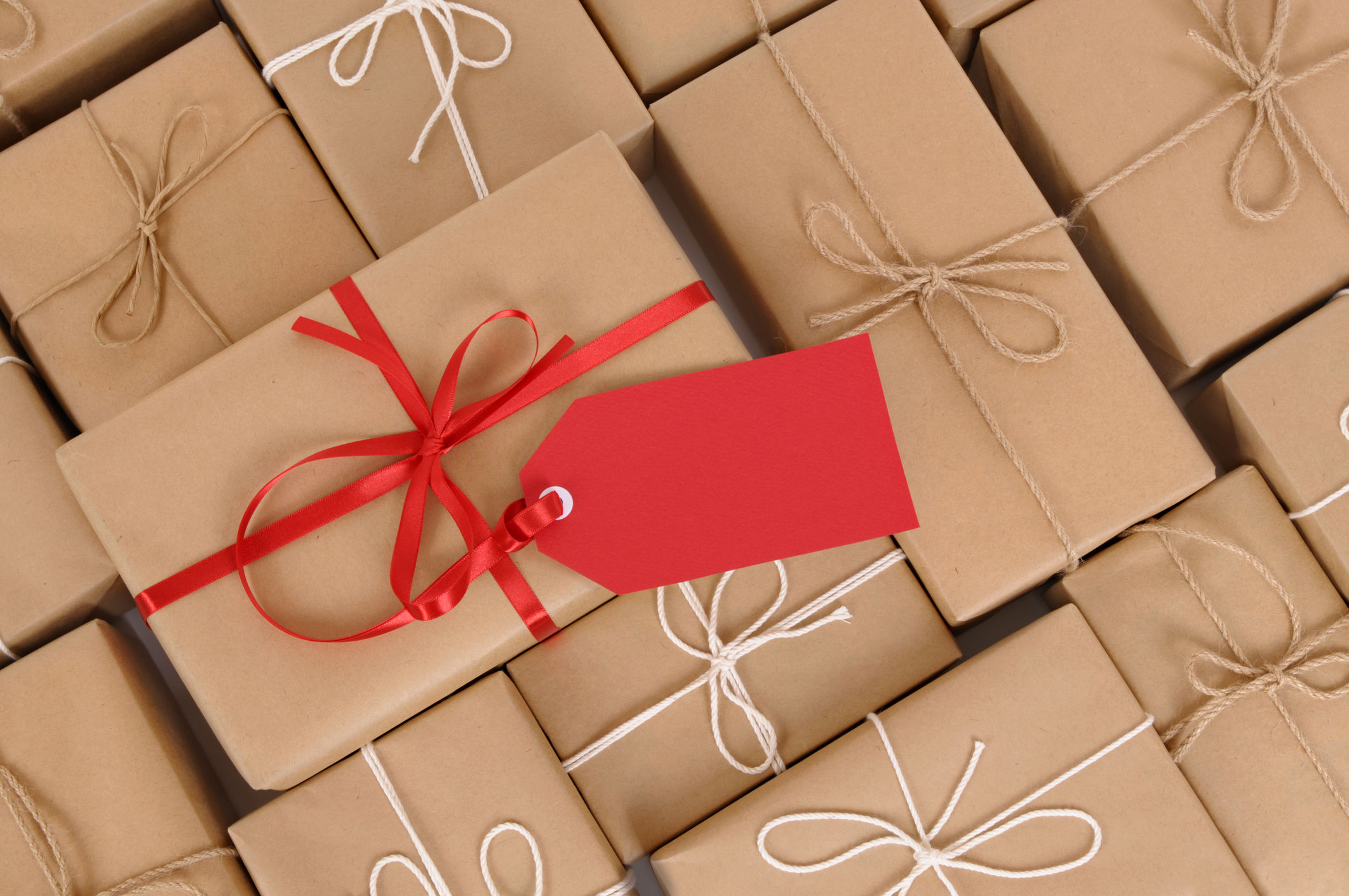 Several brown paper packages, one with red ribbon and gift tag. To see my complete collection of packages and boxes please CLICK HERE. Alternative version of this file shown below: