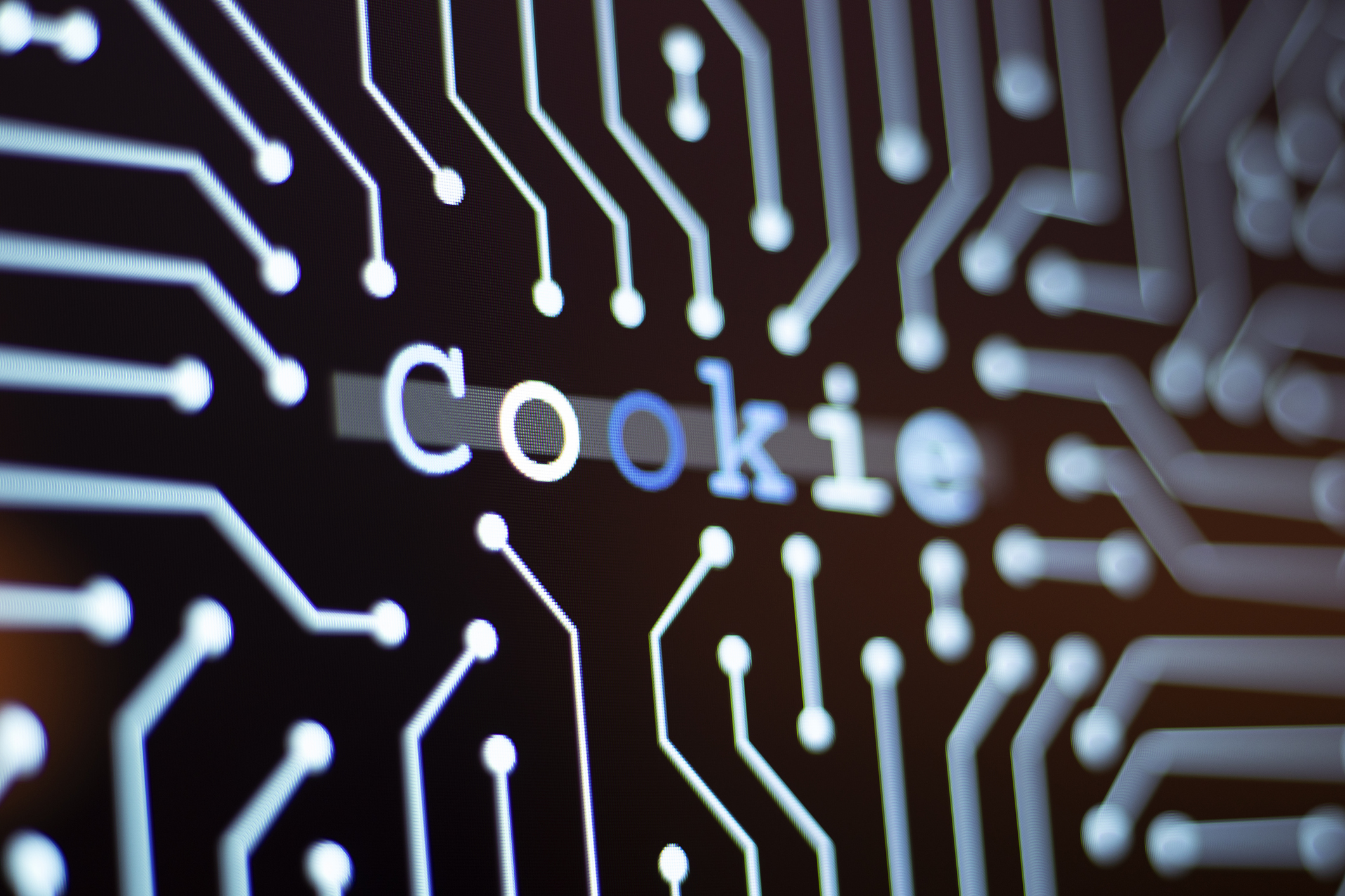 Technology Background and Circuit Board With Cookie Message.