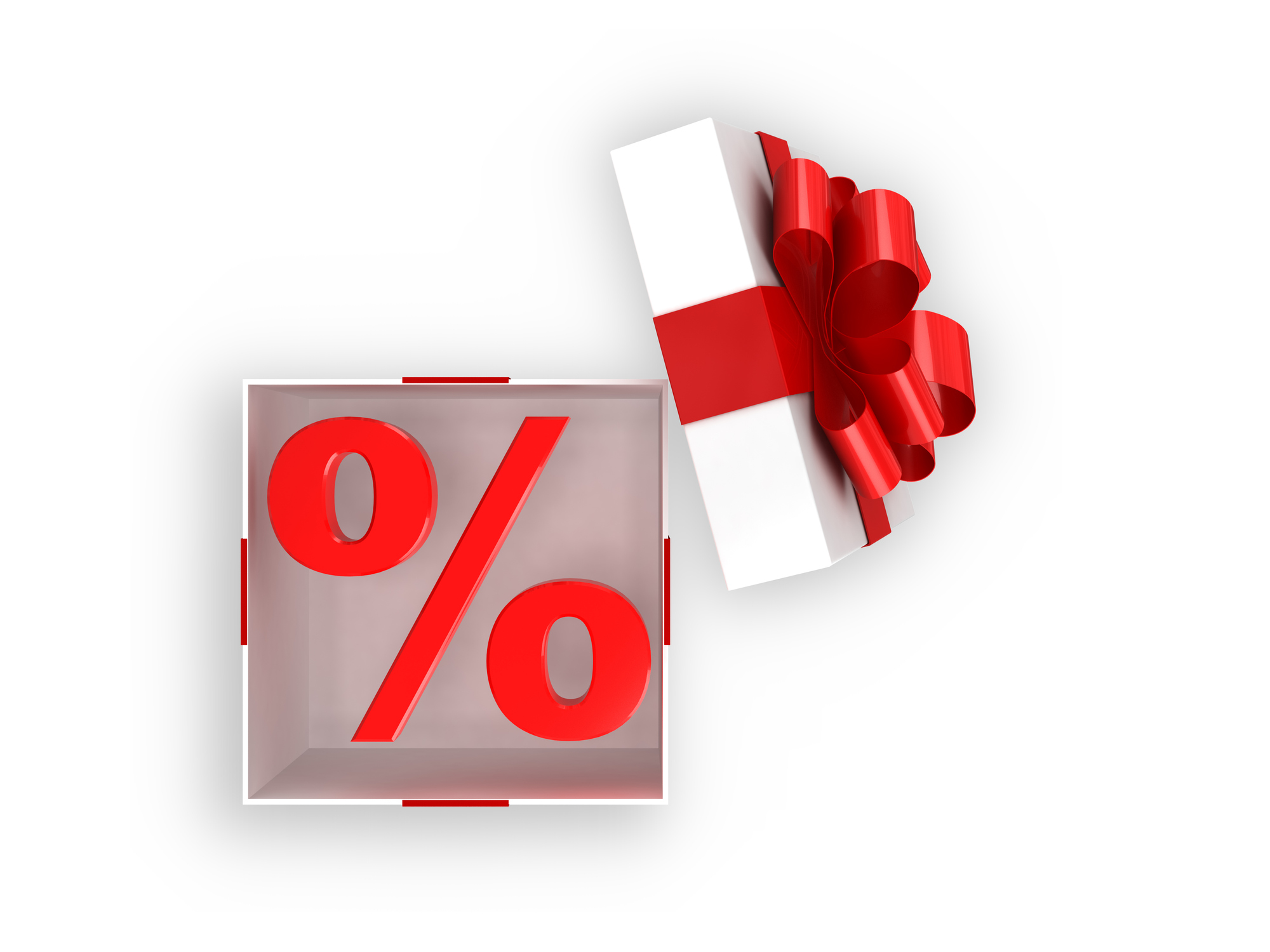 Gift box open shopping sale percentage
