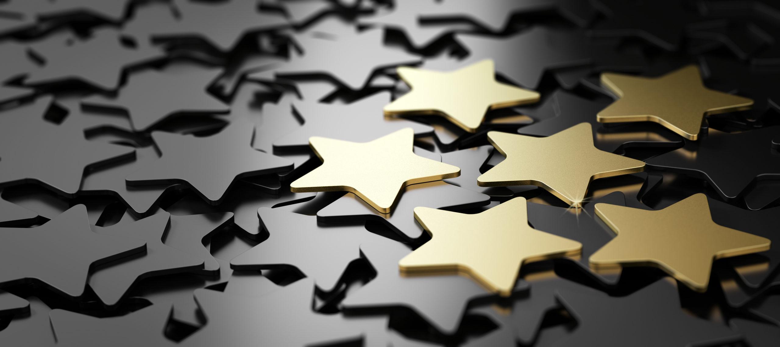 Six golden stars over black background. 3D illustration of high quality customer service